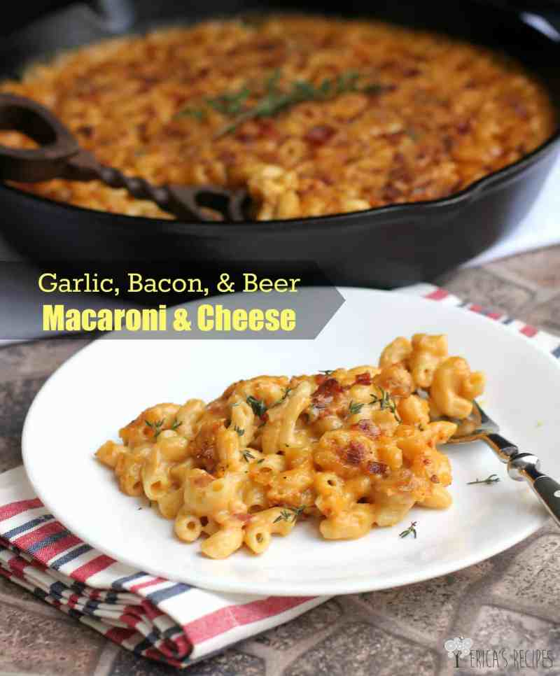 Garlic, Bacon, and Beer Macaroni and Cheese. This recipe has to happen in your life. #goals #recipe #food #macaroniandcheese #beer #cheese #bacon