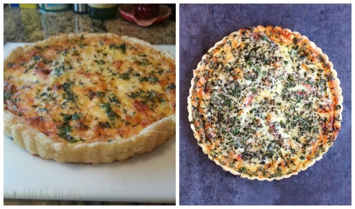 split photo. on the left is an old phone photo of a tomato tart looking wrecked. on the right is a stylized pretty version of the same recipe