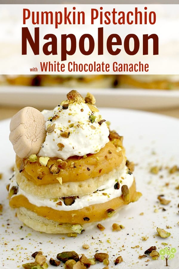 Pumpkin Pistachio Napoleon with White Chocolate Ganache. Dreamy pumpkin pudding and decadent white chocolate ganache, layered with buttery puffed pastry and pistachios make this easy, fall dessert such a special treat. #food #recipe #fall #dessert #pumpkin #easyrecipe #chocolate #napoleon
