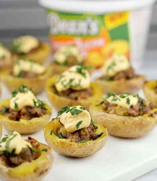 Mini Cheeseburger Potato Bites #DeansDreamBig #ad