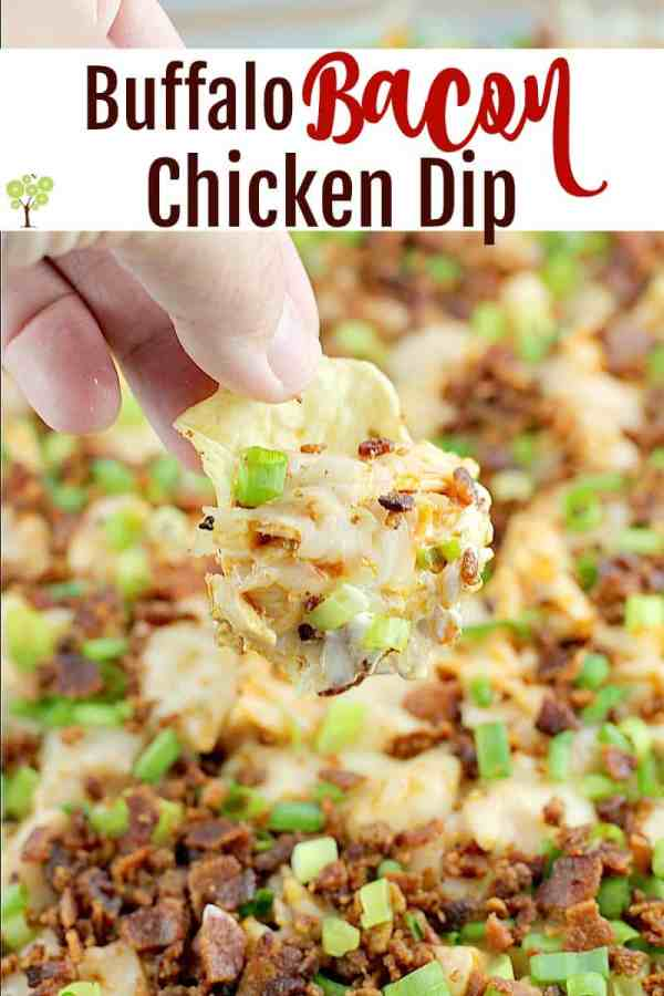 Traditional cream cheese chicken dip brought to a whole new level with bacon! Buffalo Bacon Chicken Dip is a game-day perfect, crowd pleasing favorite. Easy to make and bring to all the parties. #dip #recipe #chicken #bacon #buffalodip #partyfood #appetizer #entertaining #creamcheesedip