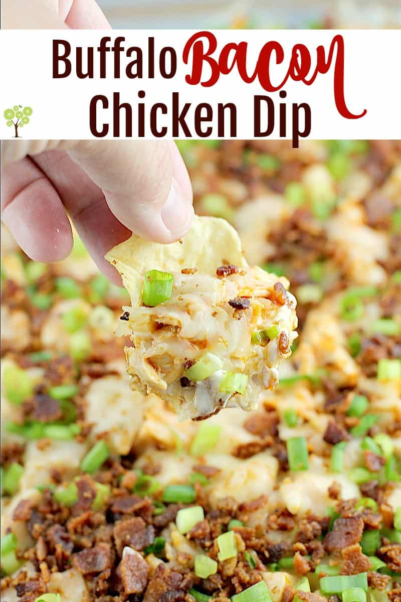 Traditional cream cheese chicken dip brought to a whole new level with bacon!Buffalo Bacon Chicken Dip is a game-day perfect, crowd pleasing favorite. Easy to make and bring to all the parties. #dip #recipe #chicken #bacon #buffalodip #partyfood #appetizer #entertaining #creamcheesedip