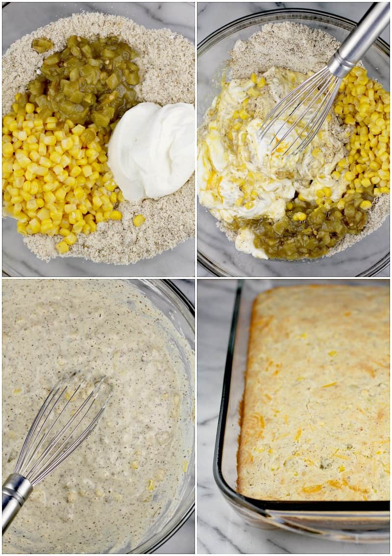 Collage showing the biscuit layer, 4 photos: almond flour, sour cream, green chile, and corn in a clear glass bowl; whisk combining the ingredients; whisk in the bowl with prepared low carb biscuit batter; cooked biscuit layer in a clear glass bake dish fresh from the oven