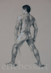 Figure Study, Charcoal and White Chalk, 18x24, 2013