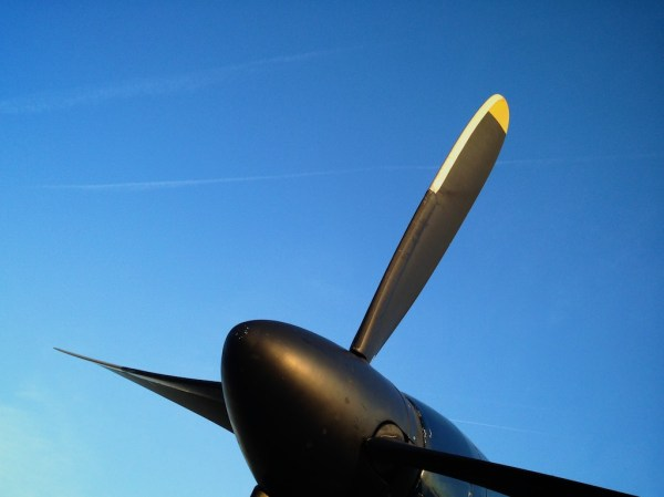 I rode in a small pond hopper this morning. The gigantic propellers looked beautiful against the deep blue morning sky.