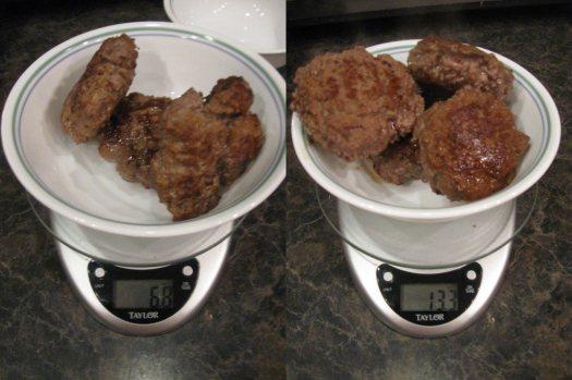 Cooked weight: 73% ground beef - 6.8oz; 93% ground beef - 13.3oz