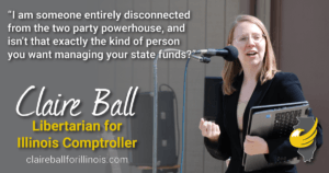 I am someone entirely disconnected from the two-party powerhouse, and isn't that exactly the kind of person you want managing your state funds? --Claire Ball