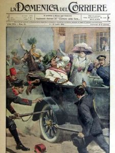 Assassination of the Archduke Franz Ferdinand and his wife. Drawing by Achille Beltrame. Public domain from http://bit.ly/1stYoxO.