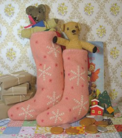 pink Christmas stockings with original blanket stitch feature