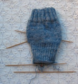 back view of sock in Lavenham Blue wool