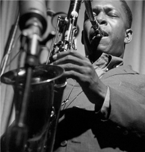 The master jazz saxophonist John Coltrane at work
