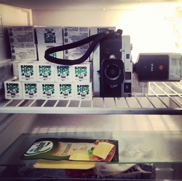 The street photographer's diet: Cheese and film. Shot in Charlie Kirk's fridge in Istanbul last summer.