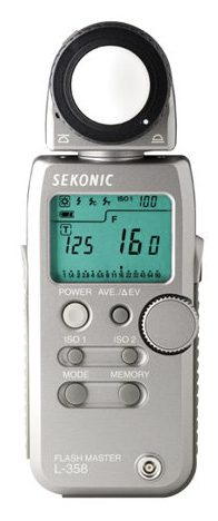 Sekonic L-358, the light meter I use. Good but expensive