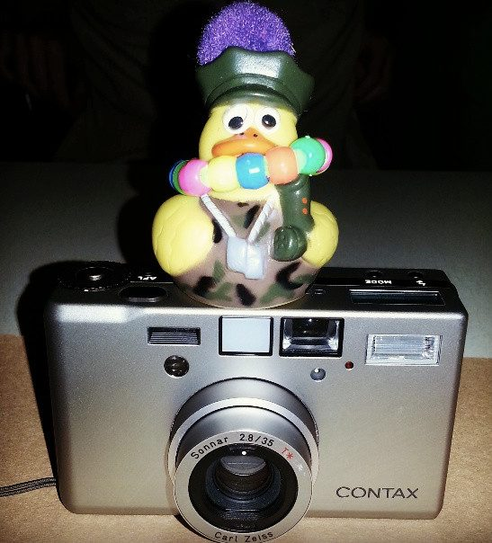 My new co-pilot with my Contax T3