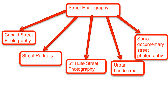 "A clumsy diagram of some different branches of the ""school of street photography"""