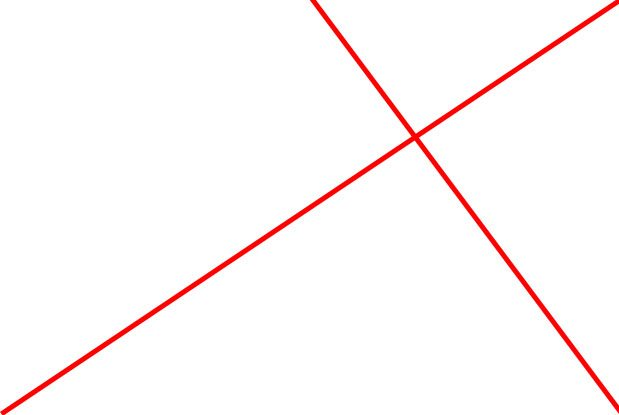 The reciprocal line cutting through the original diagonal line