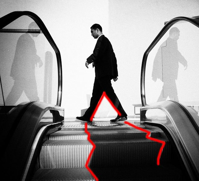 "Figure 2: Note the ""V"" shape of the man in mid-step and the leading lines to his feet."