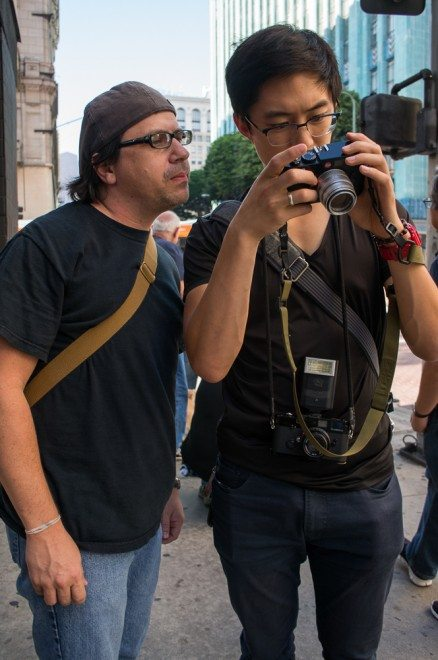 Giving feedback on Shannon Atkinson's photos in Downtown LA, 2013