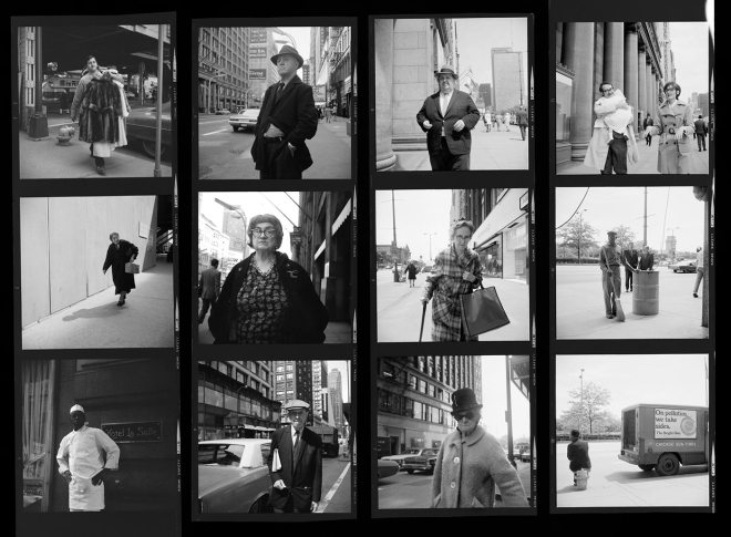 Vivian Maier Contact Sheet / Chicago, 1970. Lots of candid shots on the streets, many of which are people walking by.