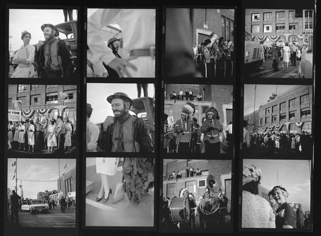 Vivian Maier Contact Sheet. Photos taken during a public event.