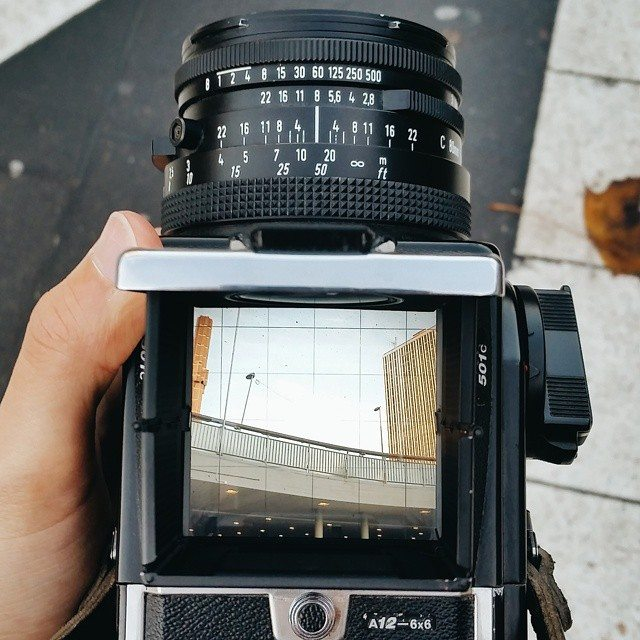 Top view from my Hasselblad. Fun to shoot urban landscapes and posed portraits, but a pain in the ass to travel with.