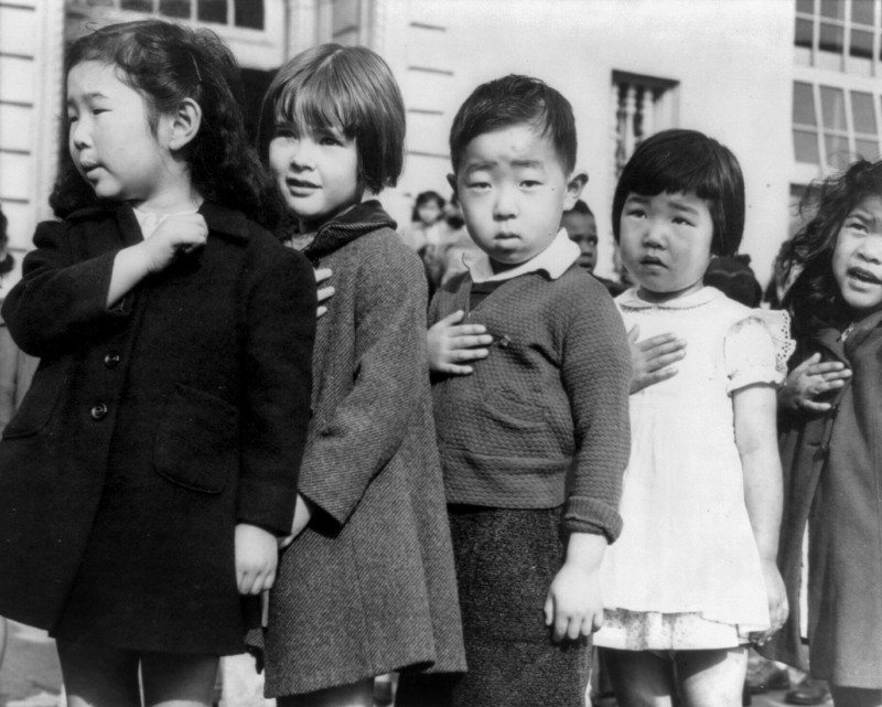 Japanese Americans Children Pledging Allegiance, 1942