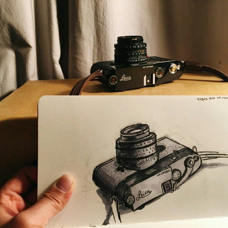 An epic sketch of my Leica MP by my talented friend Phillip Kim.