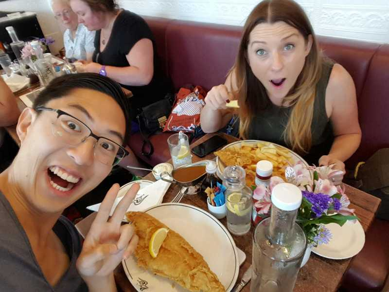 """Best fish and chips ever, with Liz at """"Magpie Cafe"""" in Whitby, England."""