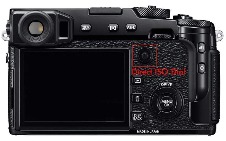Back of the X-Pro 2, autofocus dial can be adjusted by pressing it up, down, left, right, or any diagonal direction