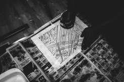 Hand made printing of Haptic Press linoleum prints.