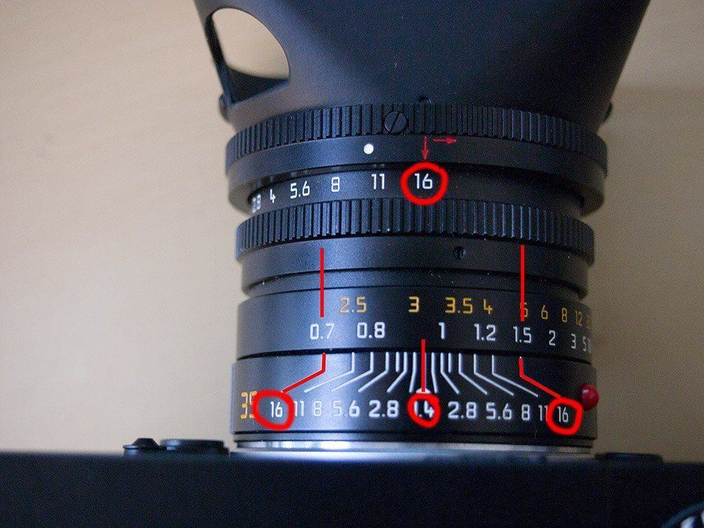 Aperture at f/16 and focused to around .9 meters. You can see everything from .7 meters to 1.5 meters will be in-focus