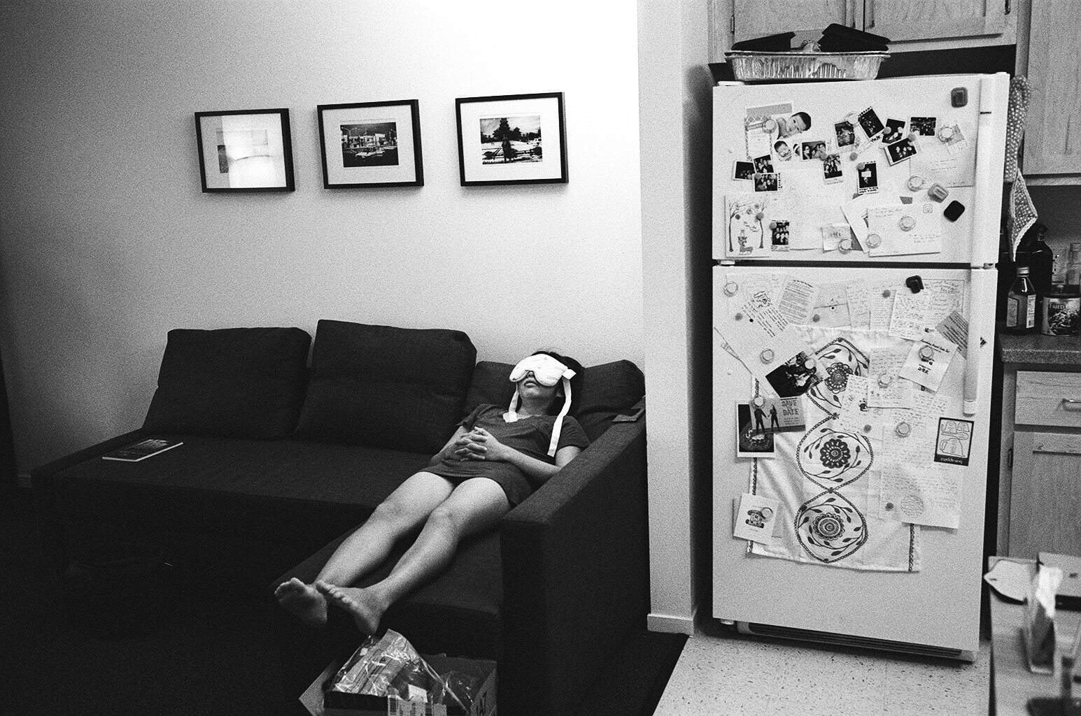 eric-kim-photography-cindy-project-black-and-white-3-eyemask-livingroom-refigerator-berkeley-couch