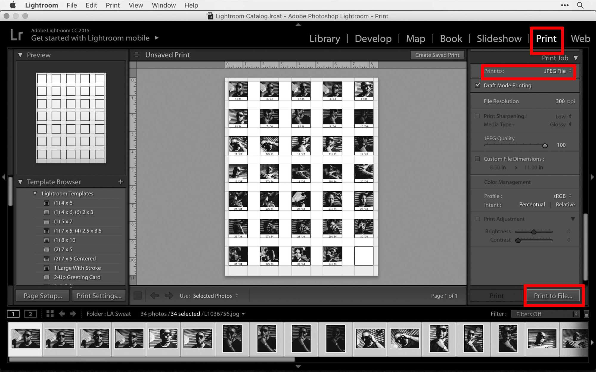 can you make a contact sheet in lightroom pdf