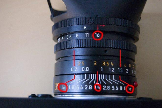 Zone focusing at f/16 (notice the range of focus at f/16) When lens is pre focused to around 1 meter. .7 meters to 1.5 meters are in focus.