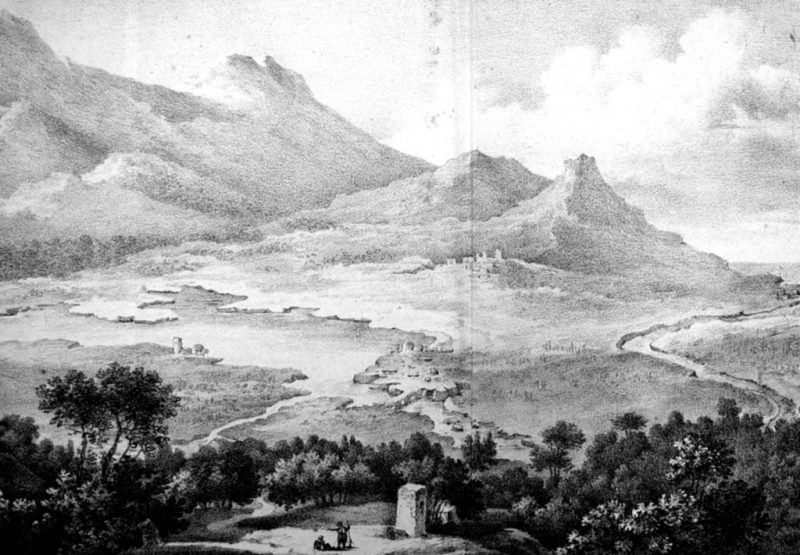 The ruins of Amphipolis as envisaged by E. Cousinéry in 1831: the bridge over the Strymon, the city fortifications, and the acropolis