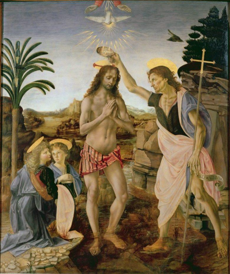 The Baptism of Christ (1472–75), Uffizi, by Verrocchio and Leonardo