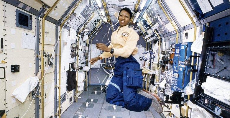 Astronaut Mae Jemison working in SpaceLab