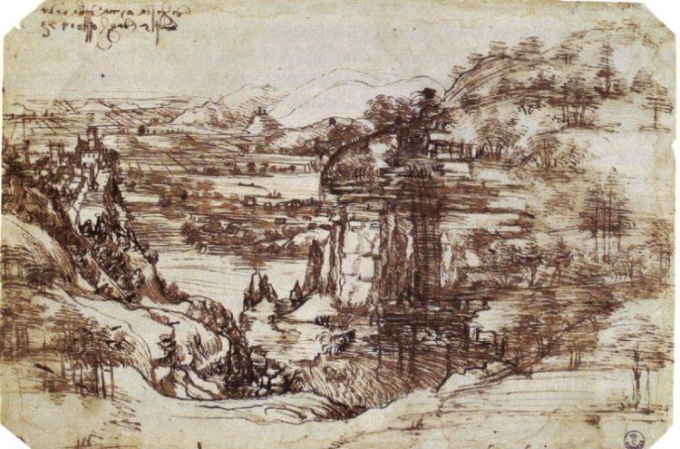 Leonardo's earliest known drawing, the Arno Valley (1473), Uffizi