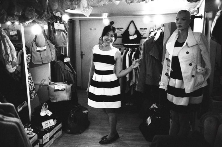 Cindy trying on a new dress. Paris, 2015
