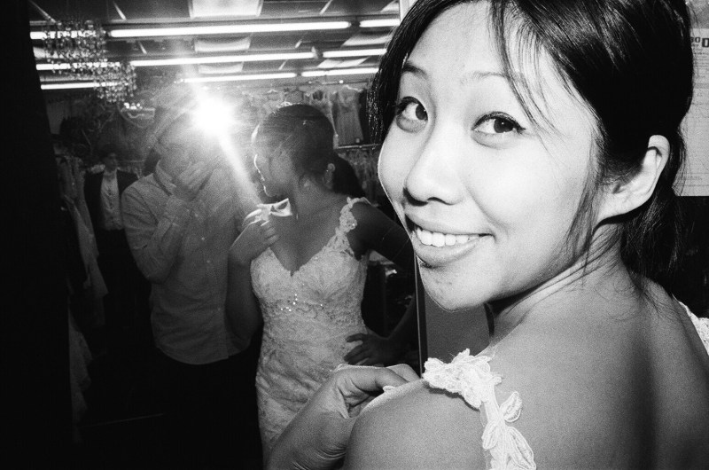 cindy wedding dress look back eric kim self portrait flash trix kodak leica mp 35mm
