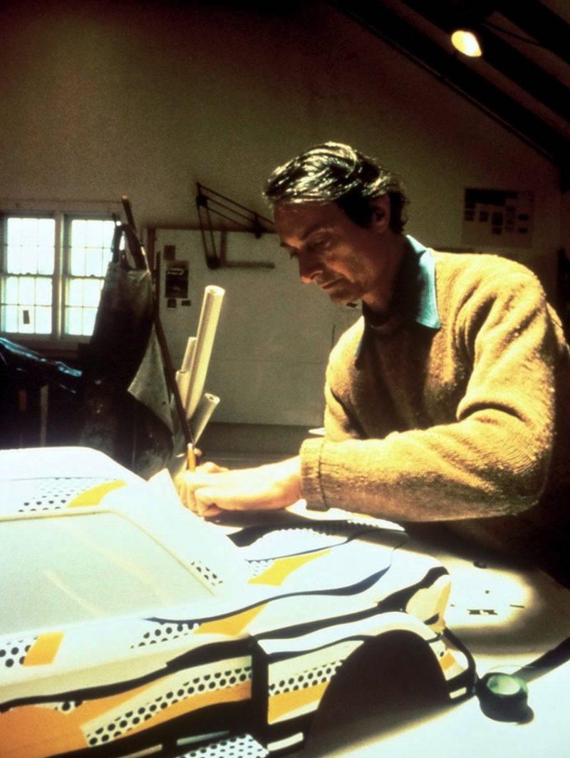 Roy Lichtenstein at work on his BMW ART CAR