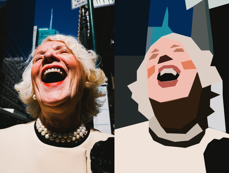 eric kim cubism - side by side laughing lady nyc