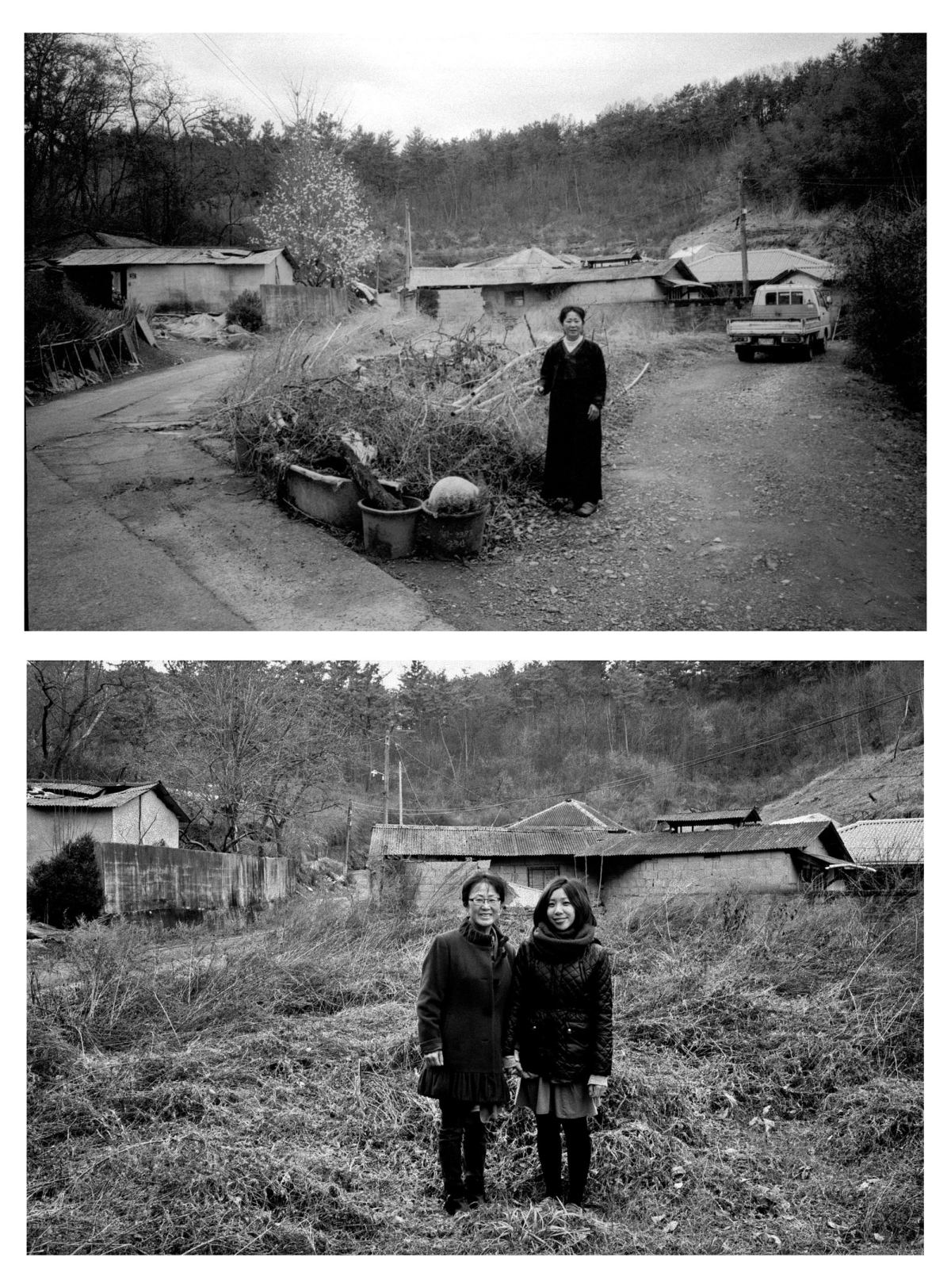 My mom at her childhood home. Bottom, same spot 2 years later with Cindy.
