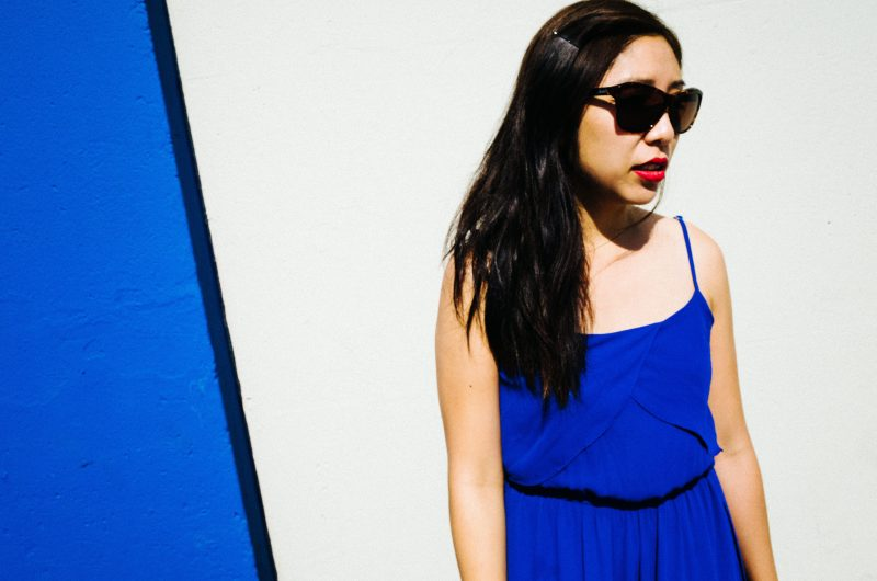 Cindy with sunglasses. All blue. Melrose blvd in Los Angeles, 2015