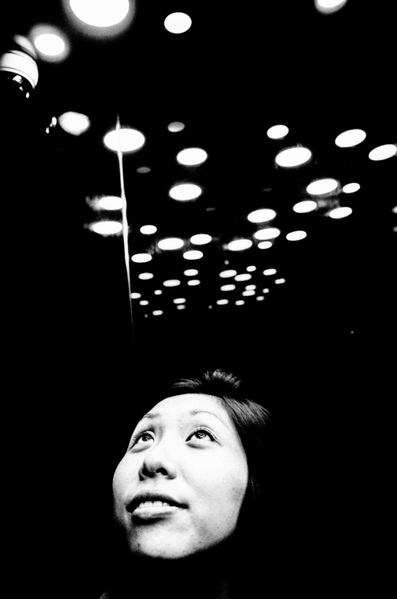 Cindy in Elevator with Lights / Hanoi, 2017