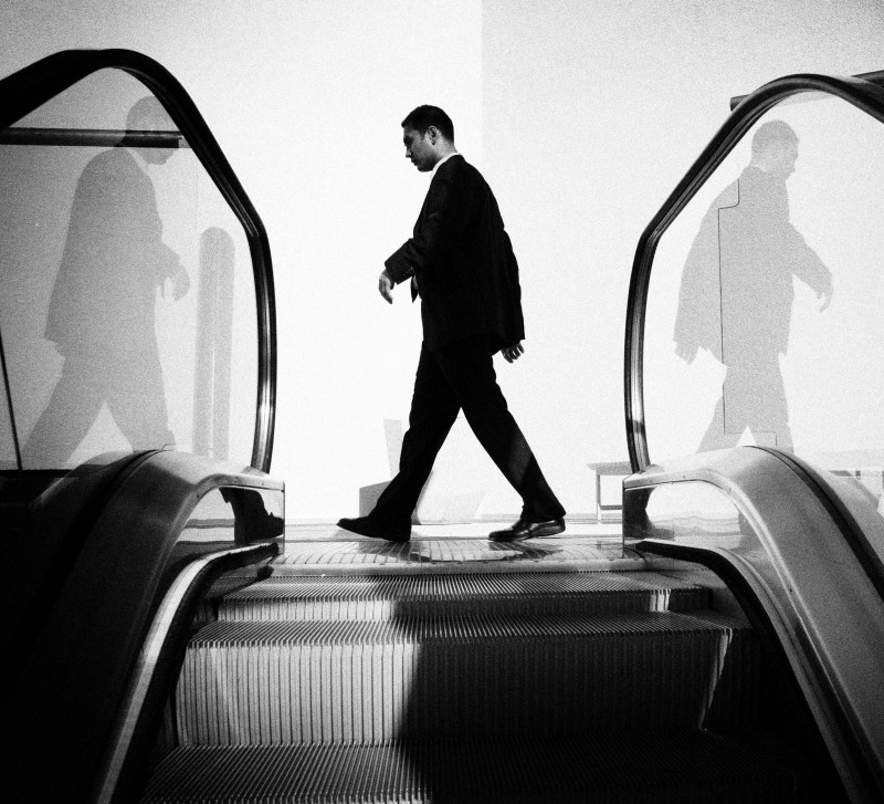 Three men. Shot on an escalator, during my lunch break. Santa Monica, 2011