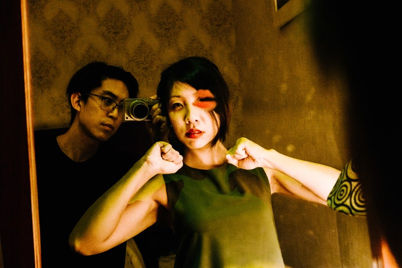 Selfie with Cindy in Saigon hotel with lipstick kiss in mirror. 2017