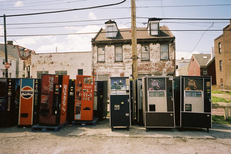 Pittsburgh, 2013. Urban landscape with vending machines. Portra 400.