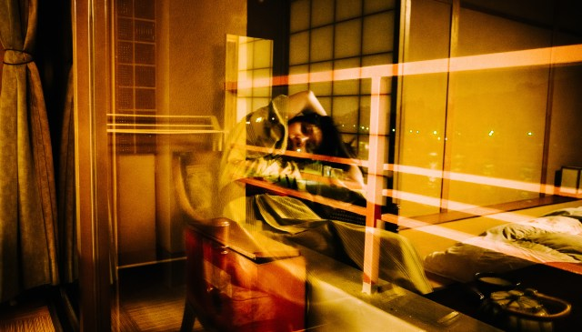 Reflection of Cindy in Ukata in our Ryokan in Uji, Kyoto 2017
