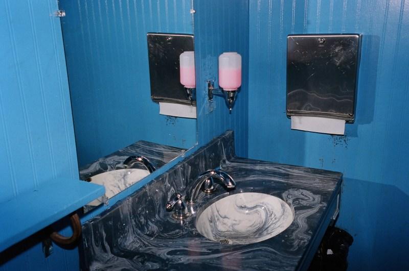 Pink soap dispenser.